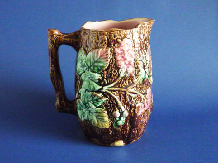 Antique 19th Century Majolica Bramble and Bark Rustic Pitcher c1880