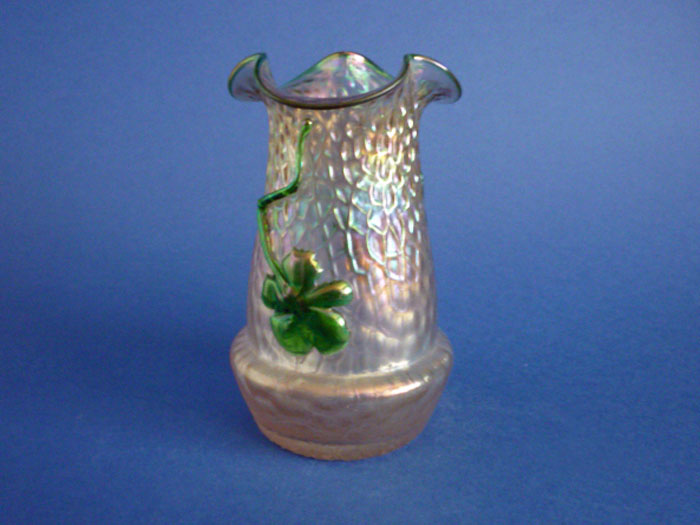 Kralik Iridescent Glass Art Nouveau Applied Flower Vase C1900