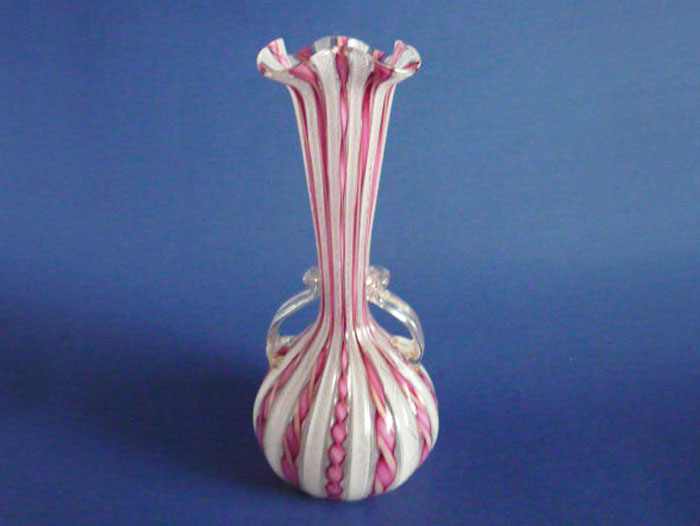 Large Venetian Latticino And Candy Twist Murano Glass Vase C1920