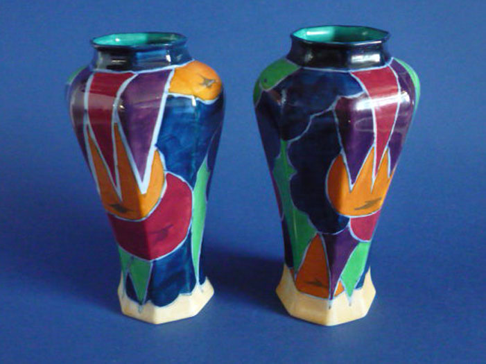 Rare Pair Of Keeling And Co Jazzette Losol Ware Vases C