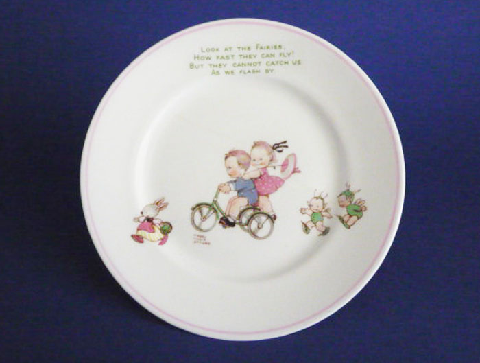 shelley mabel lucie attwell look at the fairies nursery ware bone china tea plate c1950 a f sold. Black Bedroom Furniture Sets. Home Design Ideas