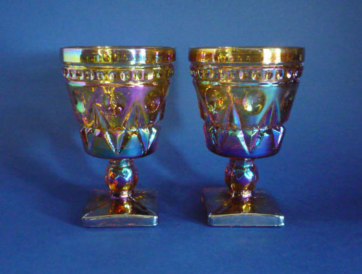 Vintage Carnival Glass Pair Of Heavy Cut Square Based