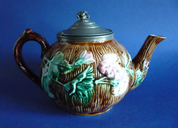 antique victorian floral majolica teapot with pewter lid c1880 639 p - Is a Victorian Engagement or Wedding Ring Right For You