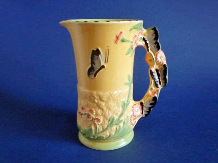 burleigh ware art deco flower jug with butterfly handle c1939
