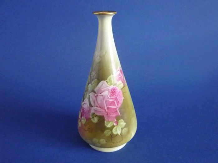 Early Royal Winton Hand Painted Roses Vase Signed Piper C1925