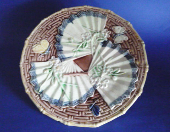 Fine Aesthetic Movement Majolica Butterfly And Fan Plate C1880