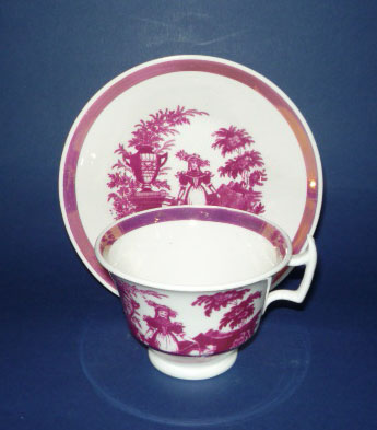 Pink Lustre 'Girl with Sheep' Porcelain Cup and Saucer c1830 #1 (Sold)