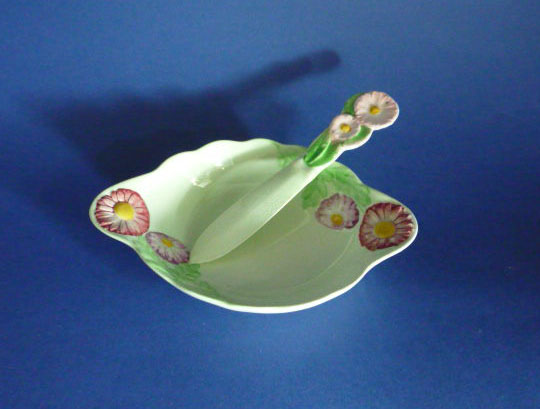 Rare Carlton Ware Green Pyrethrum Butter Dish And Knife In