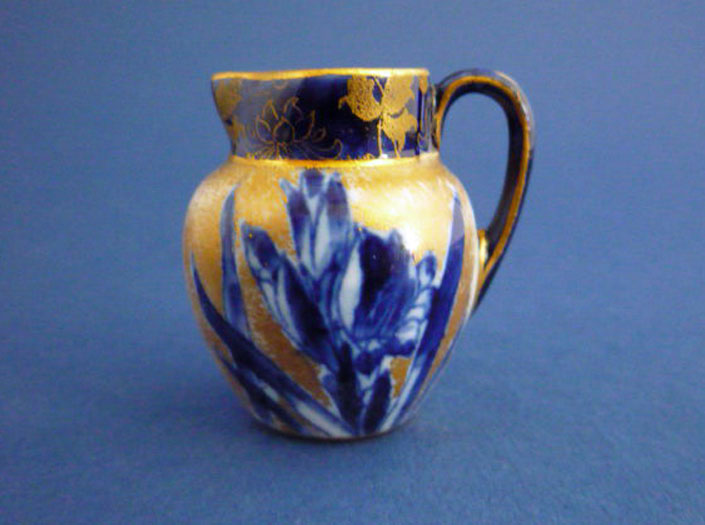 Rare Miniature Royal Doulton Blue Iris Jug c1905