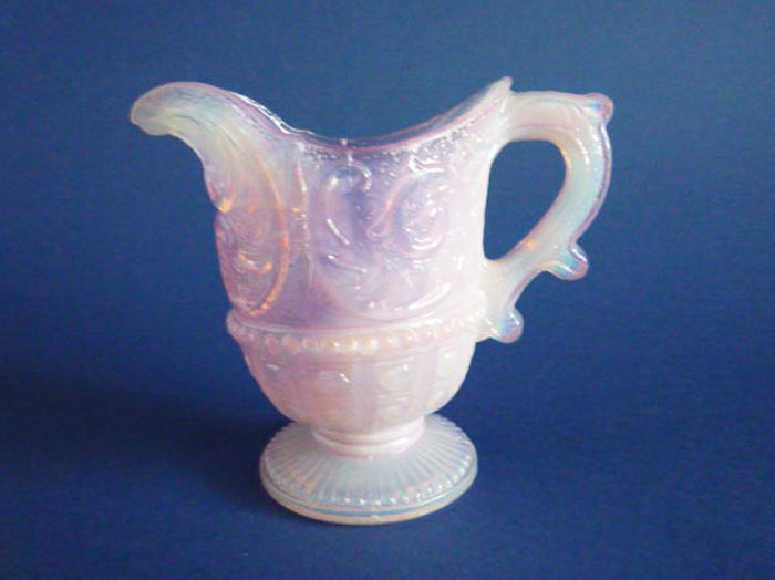 Rare Victorian Pink Opalescent Glass Scroll And Hobnail