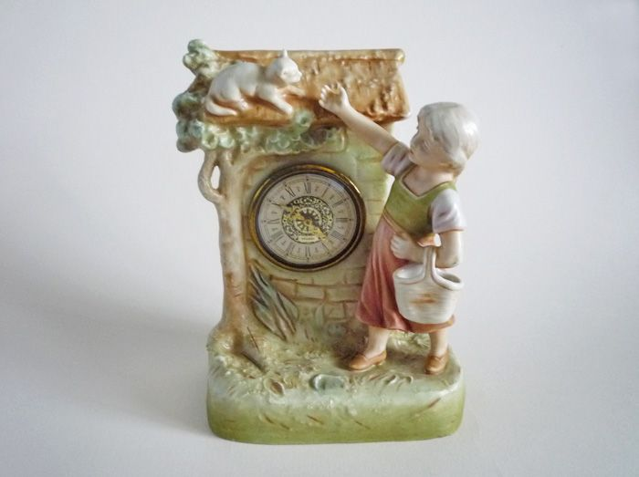 Royal Dux Little Girl with Kitten Mantel Clock c1920