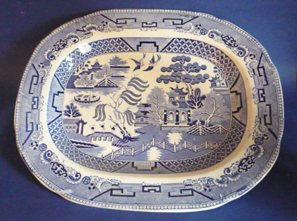 Thomas Fell of Newcastle Willow Pattern Meat Plate c1845 Sold