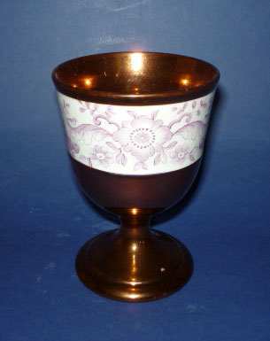 Unusual Staffordshire Pottery Copper Lustre Goblet c1845